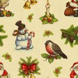 Uitstekend Kerstmispatroon vector illustratie