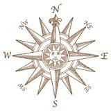 Uitstekend Kompas Rose Engraving Stock Foto's