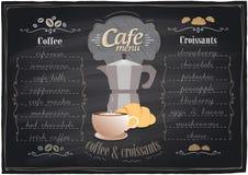 Uitstekend krijtkoffie en croissantsmenu. Royalty-vrije Stock Afbeelding