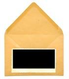 Uitstekend leeg fotoframe op envelop Royalty-vrije Stock Fotografie
