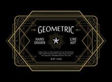 Uitstekend lineair dun het art deco retro ontwerp van de lijn geometrisch vorm Royalty-vrije Stock Foto's