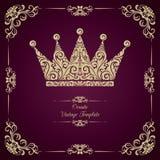 Uitstekend malplaatje met sier decoratieve kader en kroon Royalty-vrije Stock Fotografie