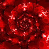 Uitstekend malplaatje met werveling De rode achtergrond van de wervelingsbanner met harten royalty-vrije illustratie