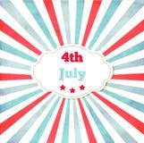 Uitstekend malplaatje voor 4 van Juli met kader Stock Afbeeldingen