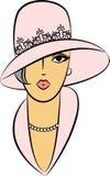 Uitstekend maniermeisje in hoed. Stock Foto's