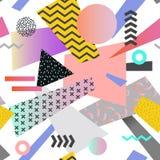 Uitstekend Memphis Geometric Seamless Pattern Abstracte vormenachtergrond Royalty-vrije Stock Foto's