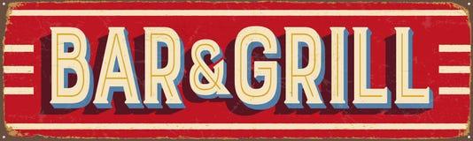 Uitstekend metaalteken - Bar & Grill vector illustratie