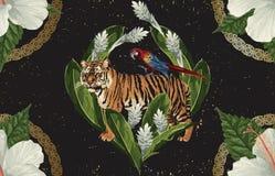 Uitstekend Mooi en in Naadloos Tropisch Patroonontwerp in super hoge resolutie De Textuur van de patroondecoratie Uitstekende sti stock illustratie