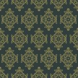 Uitstekend naadloos patroon Bloemen overladen behang Donkere vectord Stock Afbeelding