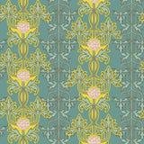 Uitstekend naadloos patroon, Jugendstilornament Vector illustratie Royalty-vrije Stock Afbeeldingen