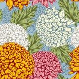 Uitstekend naadloos patroon met chrysant Royalty-vrije Stock Afbeelding