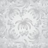 Uitstekend naadloos patroon met gradiënt zilverachtige bloemen Stock Fotografie