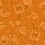 Uitstekend naadloos patroon met papaverbloemen vector illustratie