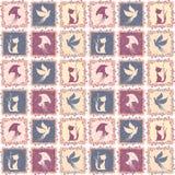 Uitstekend naadloos patroon met pictogrammen Royalty-vrije Stock Afbeelding