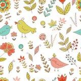 Uitstekend naadloos patroon voor uw ontwerp met vogels en bloemen vector illustratie