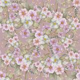 Uitstekend Naadloos roze botanisch patroon stock foto