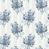 Uitstekend nam behangpatroon toe Achtergrond in blauw Royalty-vrije Stock Afbeelding
