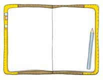 Uitstekend notitieboekje en blauwe potloodkunst het schilderen illustratie Stock Foto's