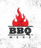 Uitstekend Openluchtbbq van de Voedselbarbecue Grafisch Vectorontwerpelement Royalty-vrije Stock Foto