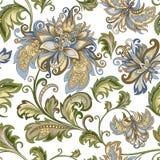 Uitstekend ornament met decoratieve bloemen op een witte achtergrond Royalty-vrije Stock Foto's