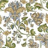 Uitstekend ornament met decoratieve bloemen op een witte achtergrond Stock Fotografie