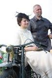 Uitstekend paar bij de motorfiets Royalty-vrije Stock Afbeelding