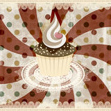 uitstekend patroon met cupcake Stock Afbeelding