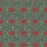 Uitstekend patroon met groene cirkels en rood centrum Stock Afbeelding