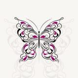 Uitstekend patroon in vorm van een vlinder stock illustratie