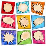 Uitstekend Pop Art Comic Speech Bubble Set met Halftone Achtergrond stock illustratie