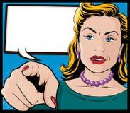 Uitstekend Pop Art Woman met het Richten van Hand Royalty-vrije Stock Afbeelding