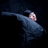Uitstekend portret van een dierlijk meisje in zwarte Royalty-vrije Stock Fotografie