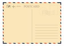 Uitstekend prentbriefkaarmalplaatje Retro luchtpostenvelop met zegel, vliegtuig en bol stock illustratie