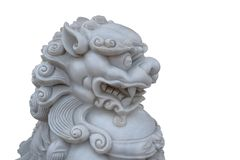 Uitstekend retro traditioneel Chinees die Leeuwhoofd op een witte achtergrond wordt geïsoleerd royalty-vrije stock afbeeldingen
