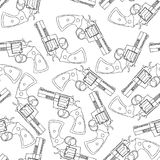 Uitstekend Revolverkanon Vuurwapen, Pistool Naadloos Patroon Vector stock illustratie