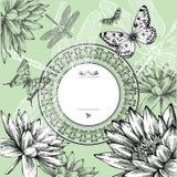 Uitstekend rond frame met waterlelies, vlinders Stock Foto's