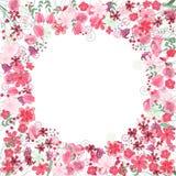 Uitstekend rond kader met contour rode bloemen vector illustratie