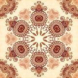 Uitstekend rond naadloos patroon in Indische mehndi Stock Fotografie