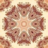 Uitstekend rond naadloos patroon in Indische mehndi Stock Afbeelding