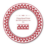 Uitstekend Rond Retro Kader 040 de Rode Lijn van de Hartmeetkunde Stock Afbeeldingen