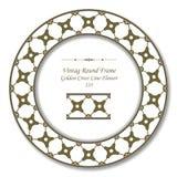 Uitstekend Rond Retro Kader 235 Gouden Dwarslijnbloem Royalty-vrije Stock Afbeelding