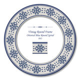 Uitstekend Rond Retro Kader 043 Oosterse Blauwe Ronde Spiraal Stock Afbeeldingen