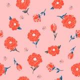 Uitstekend rood Bloesem Bloemenpatroon in het bloeien botanisch M royalty-vrije illustratie