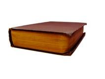 Uitstekend rood gesloten die boek op witte achtergrond wordt geïsoleerd Stock Afbeelding