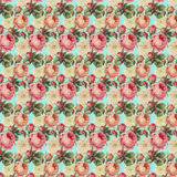 Uitstekend Rozen Bloemenpatroon Stock Afbeeldingen