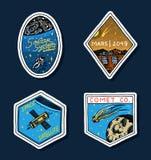 Uitstekend Ruimteembleem Exploratie van de astronomische melkweg opdrachtastronaut of ruimtevaarder kosmonautavontuur planeten vector illustratie
