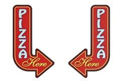 Uitstekend Rusty Metal Pizza Here Arrow-Teken het 3d teruggeven royalty-vrije illustratie