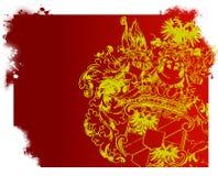 Uitstekend schild met rode achtergrond Royalty-vrije Stock Fotografie