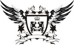 Uitstekend schild met vleugels en leeuwen Royalty-vrije Stock Afbeelding