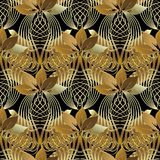 Uitstekend sier 3d abstract naadloos patroon Vector bladpa Stock Illustratie
